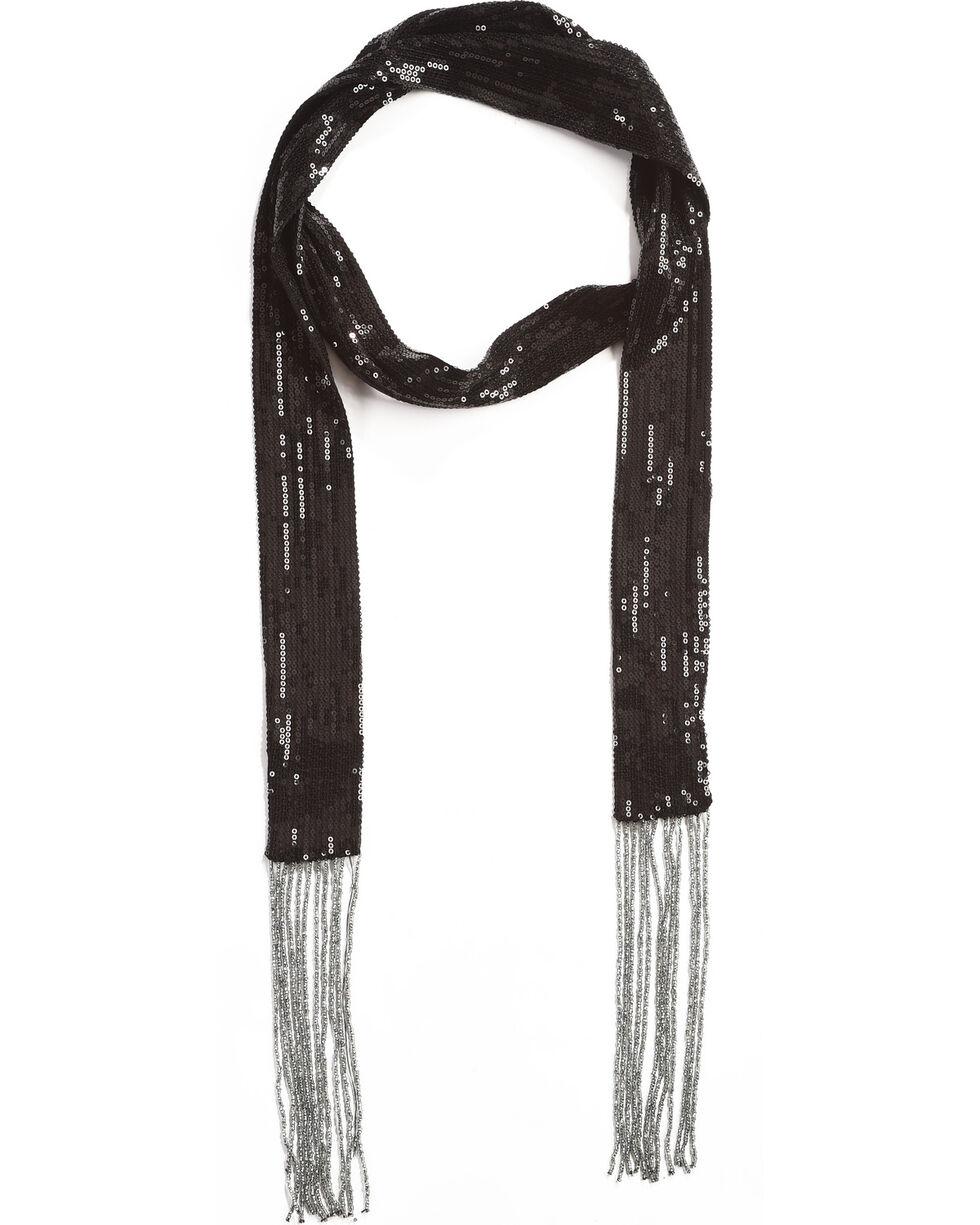 Shyanne Women's Black Sequins Skinny Scarf, Black, hi-res
