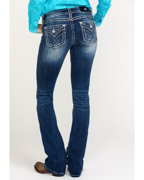 Miss Me Women's Sign Stitch Boot Cut Jeans , Blue, hi-res
