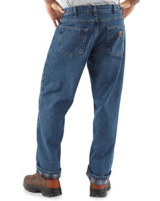 Carhartt Men's Darkstone Relaxed Straight Leg Flannel Lined Work Jeans - Big , Blue, hi-res