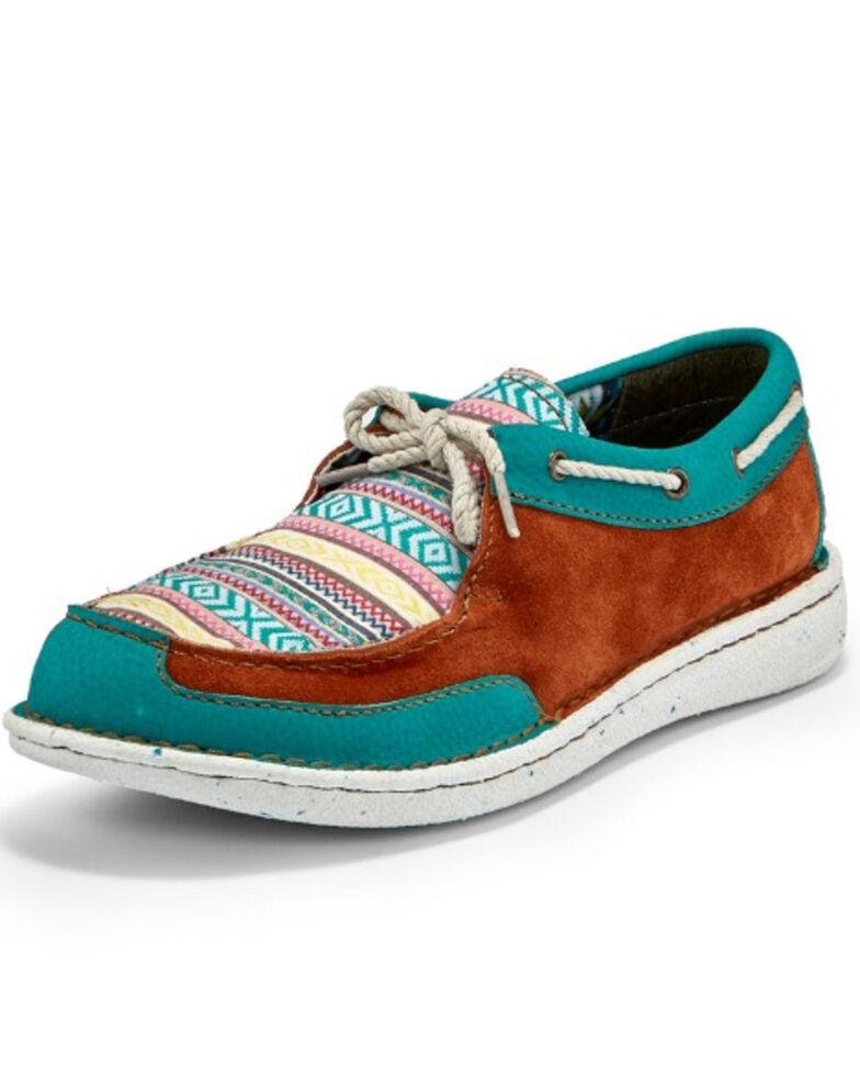 Justin Women's Boatie Turquoise Moc Driving Shoes - Moc Toe, Multi, hi-res