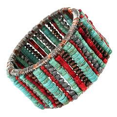 Treska Cowtown Beaded Bangle Bracelet , Turquoise, hi-res