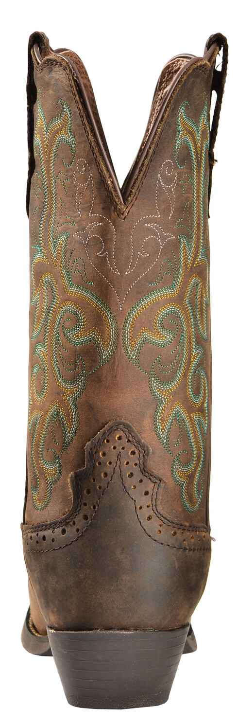 Justin Stampede Western Cowgirl Boots with Rubber Sole - Square Toe, Sorrel, hi-res
