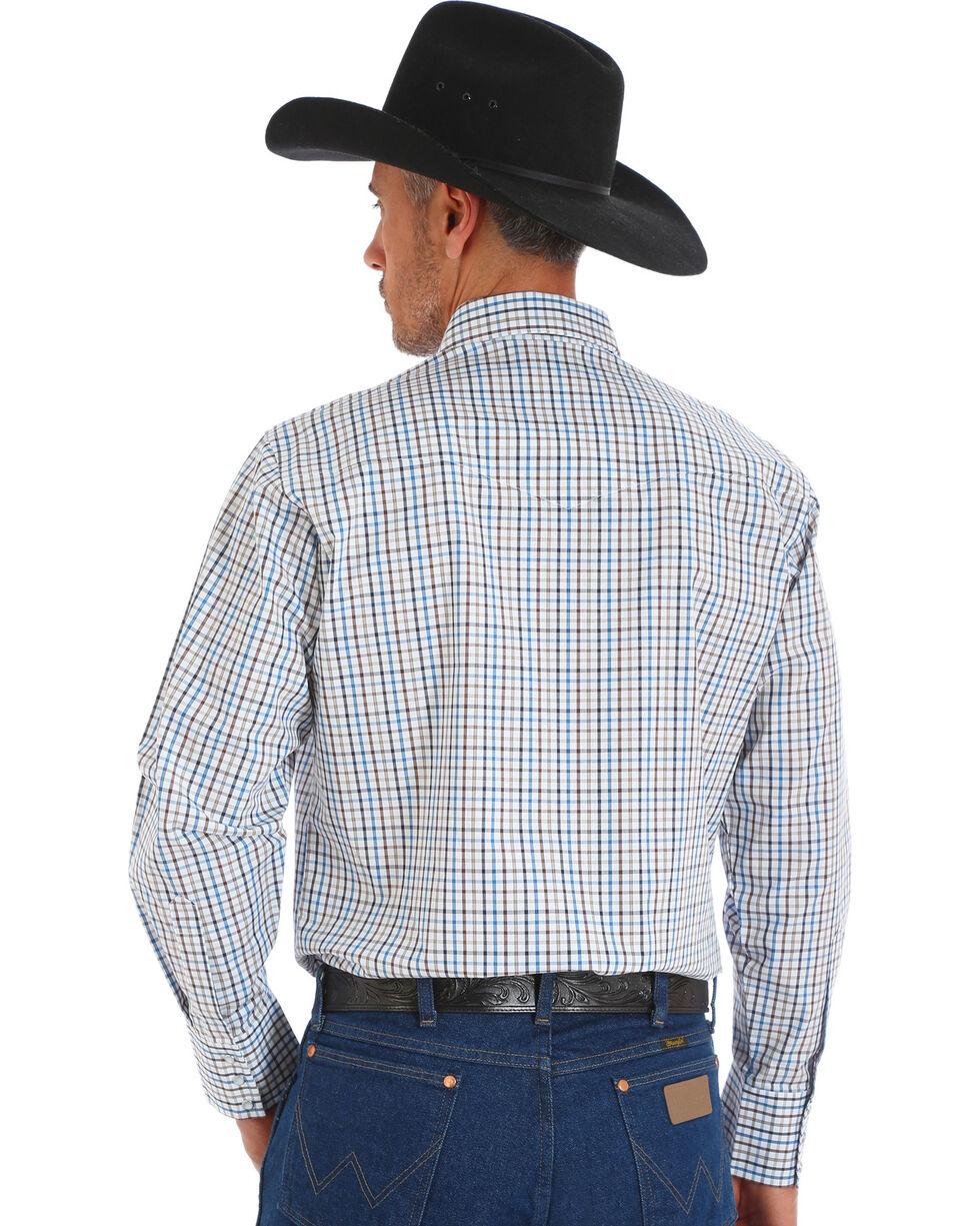 Wrangler Men's Wrinkle Resistant White Plaid Western Snap Shirt, White, hi-res