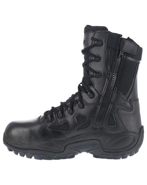 """Reebok Men's Stealth 8"""" Lace-Up Black Side-Zip Work Boots - Composition Toe, Black, hi-res"""