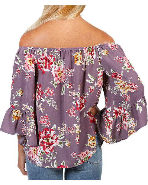 CES FEMME Women's Mauve Floral Off The Shoulder Bell Sleeve Top , Mauve, hi-res