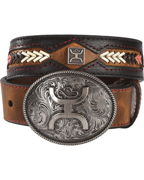 Hooey Girls' Brown Fancy Stitch Belt , Brown, hi-res
