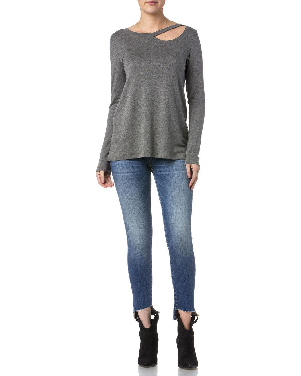 Miss Me Women's Simple Long Sleeve Knit Top, Grey, hi-res