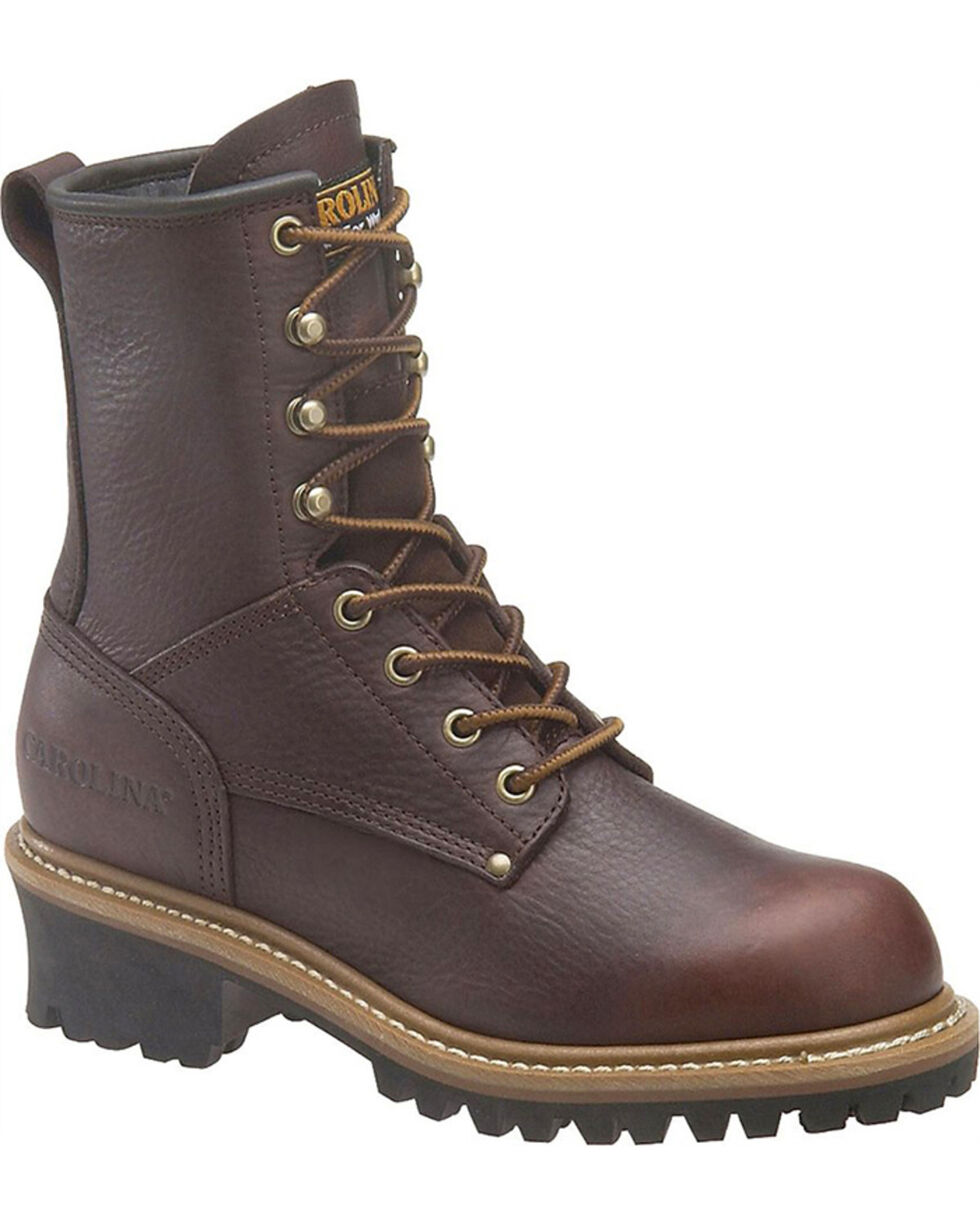 "Carolina Women's Elm 8"" EH Logger Boots - Round Toe, Dark Brown, hi-res"