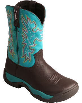 Twisted X Brown All Around Turquoise Cowgirl Boots - Round Toe, Chocolate, hi-res