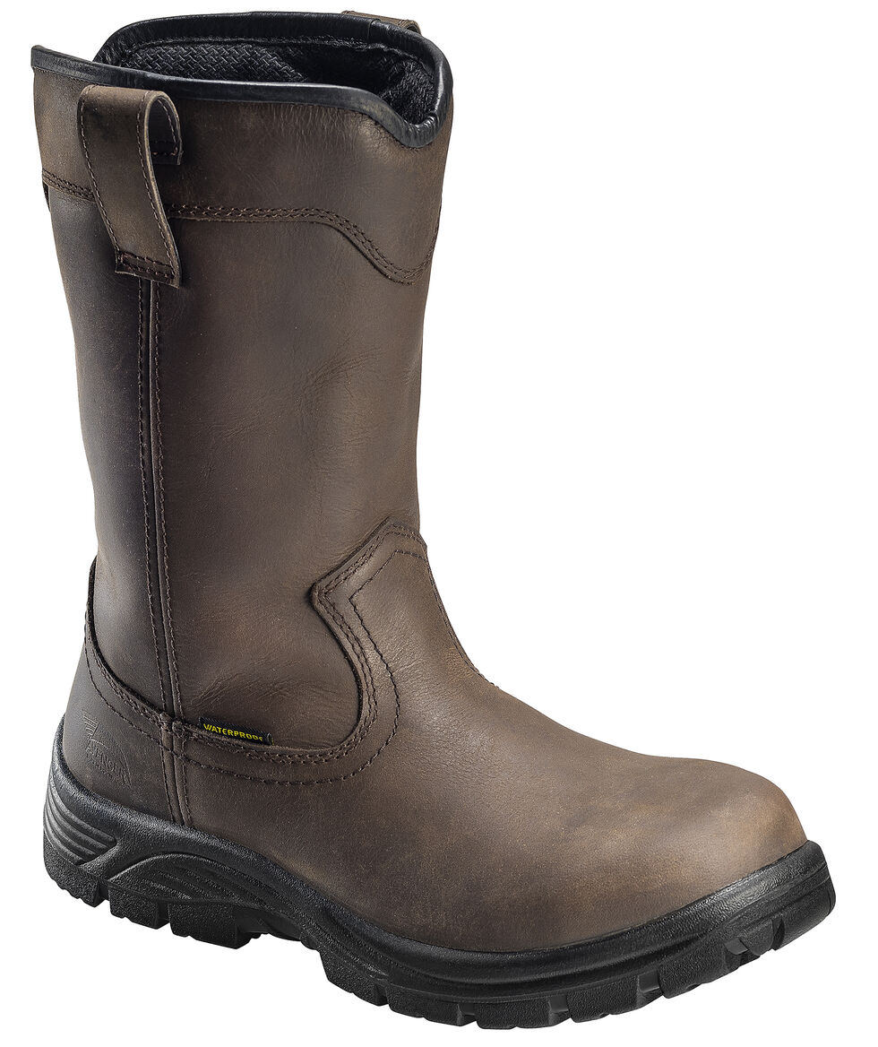 Avenger Men's Brown Waterproof Wellington Work Boots - Composite Toe, Brown, hi-res