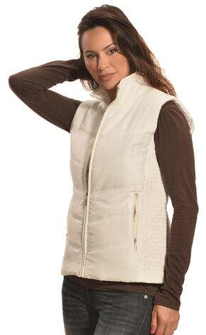 Jane Ashley Women's Stone White Quilted Princess Vest , Stone, hi-res