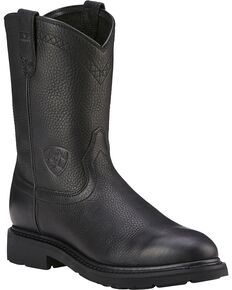 Ariat Men's Sierra Western Work Boots, Black, hi-res