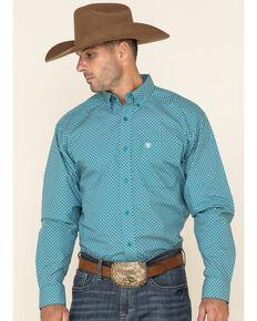 Ariat Men's Othello Diamond Geo Print Long Sleeve Western Shirt , Teal, hi-res