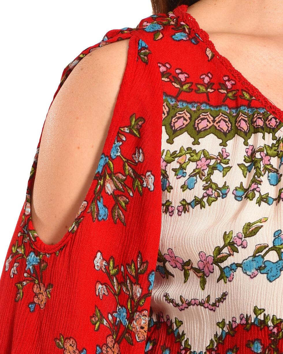 Bila Women's Red Cold Shoulder Angel Sleeve Blouse , Red, hi-res