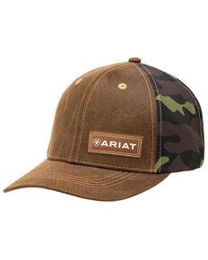 Ariat Men's Oilskin Camo Print Leather Logo Ball Cap , Brown, hi-res