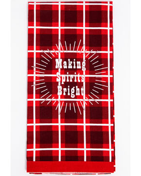 BB Ranch Christmas Plaid Tea Towel, Red, hi-res
