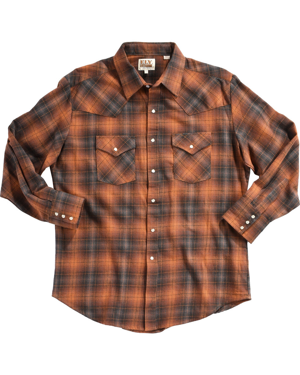 Ely Cattleman Men's Copper Brawny Flannel Shirt, Rust Copper, hi-res