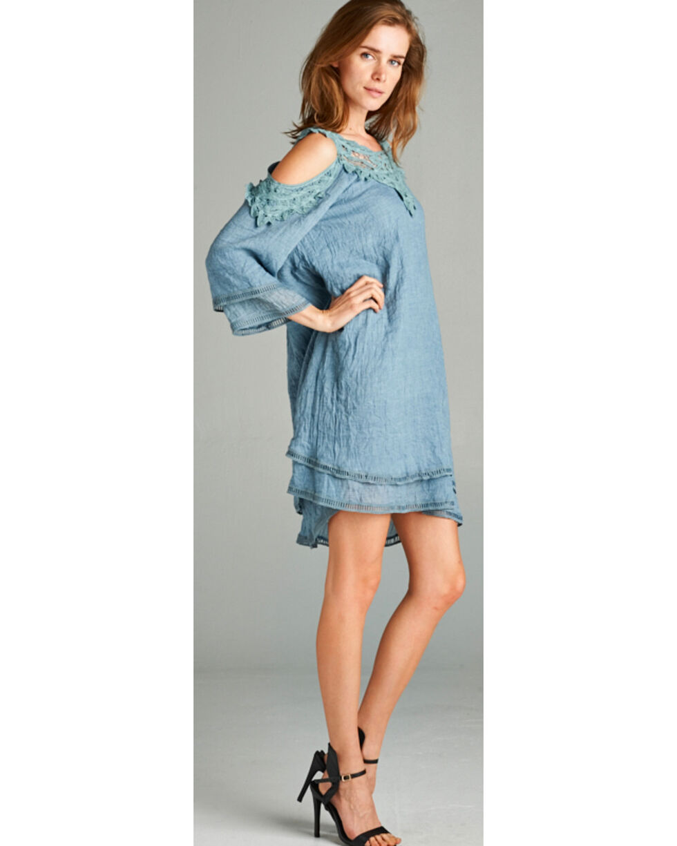 Hyku Women's Crocheted Trim Cold Shoulder Mini Dress, Blue, hi-res