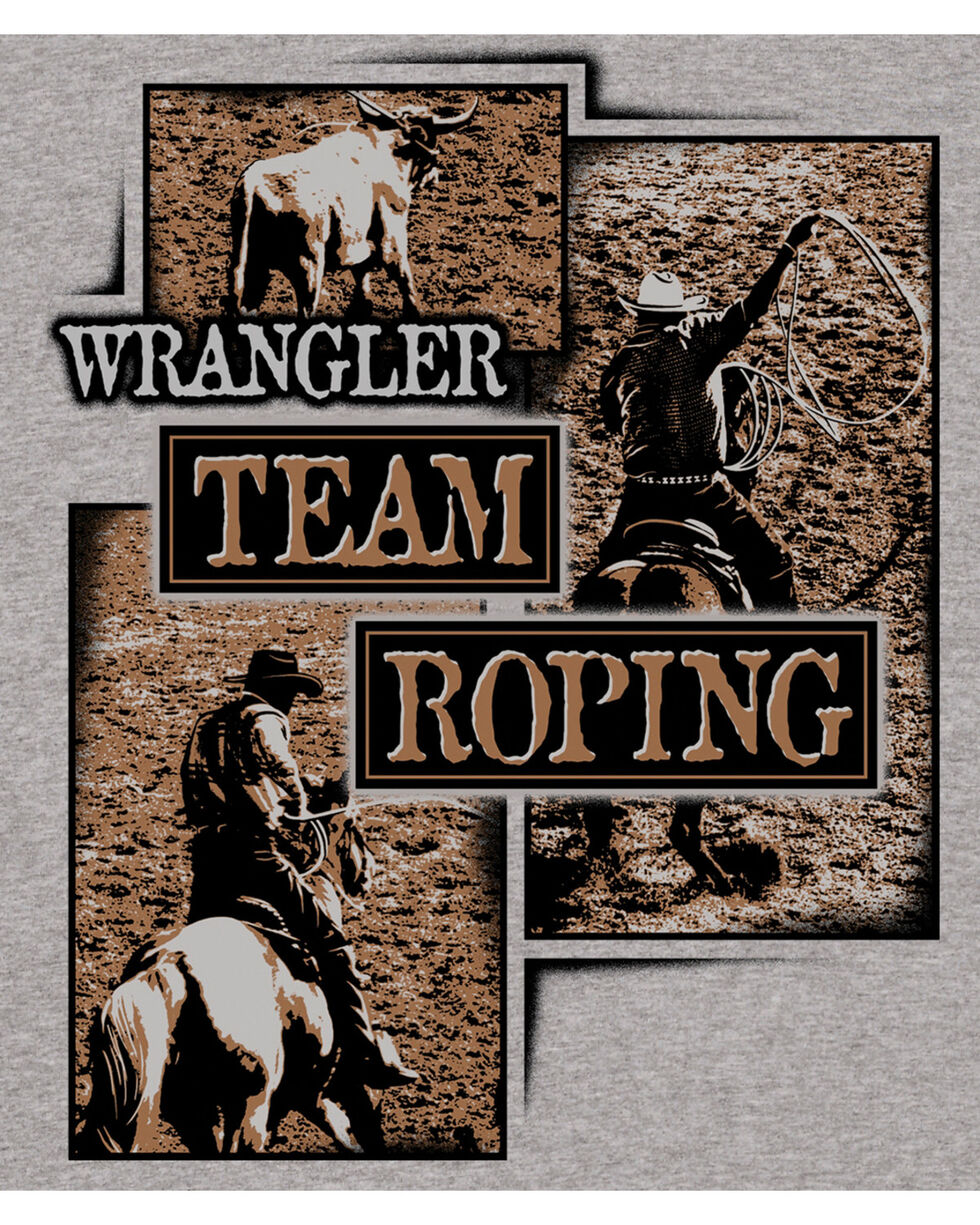 Wrangler Boys' Grey (6-16) Team Roping Short Sleeve Tee , Grey, hi-res