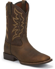 Justin Men's Brown Stampede Boots - Square Toe, Dark Brown, hi-res