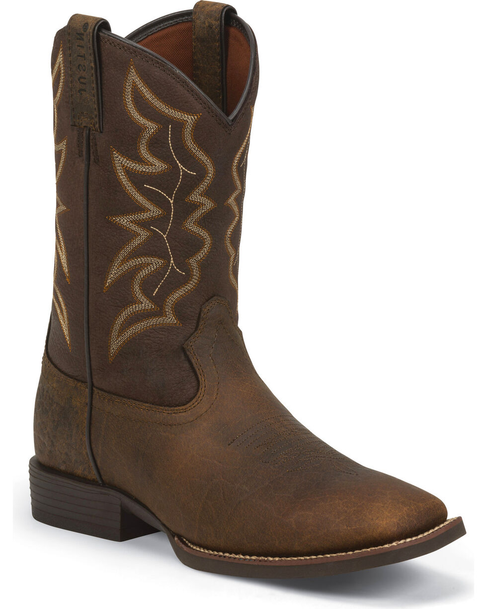 Justin Men's Brown Stampede Boots - Square Toe, Dark Brown, hi-res