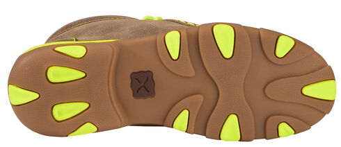 Twisted X Brown and Neon Yellow Leather Driving Mocs, Bomber, hi-res