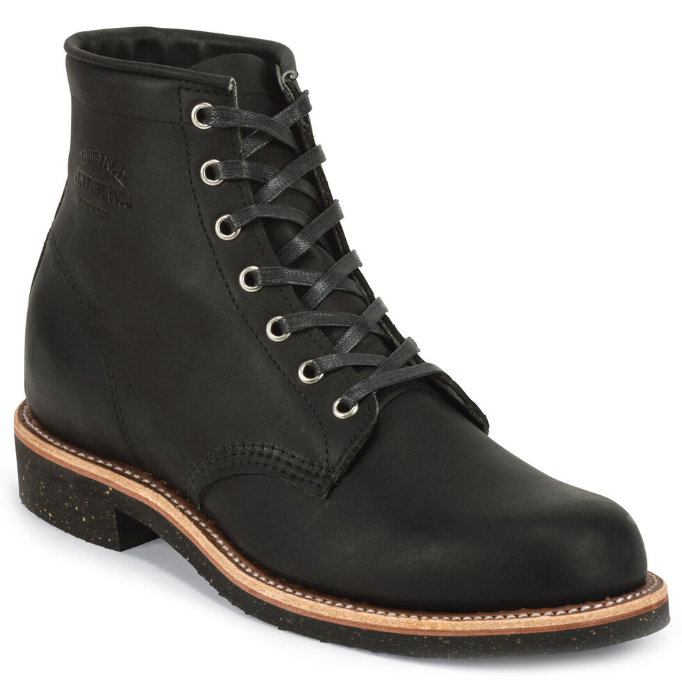 "Chippewa Men's Black Odessa 6"" Lace-Up Service Boots - Round Toe, Black, hi-res"