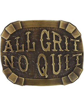 Cody James Men's All Grit No Quit Belt Buckle, Silver, hi-res