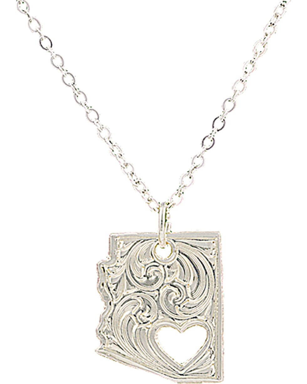 "Montana Silversmiths ""I Heart Arizona"" Necklace, Silver, hi-res"
