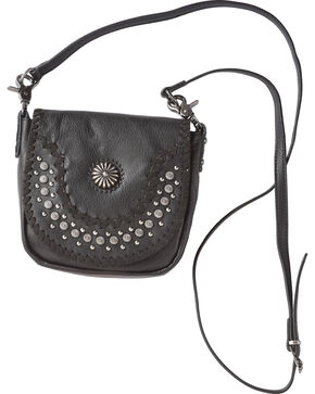 Montana West Women's Silver Studded Daisy Concho Crossbody Bag, Brown, hi-res