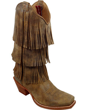 Twisted X Brown Fringe Steppin' Out Cowgirl Boots - Square Toe, Bomber, hi-res