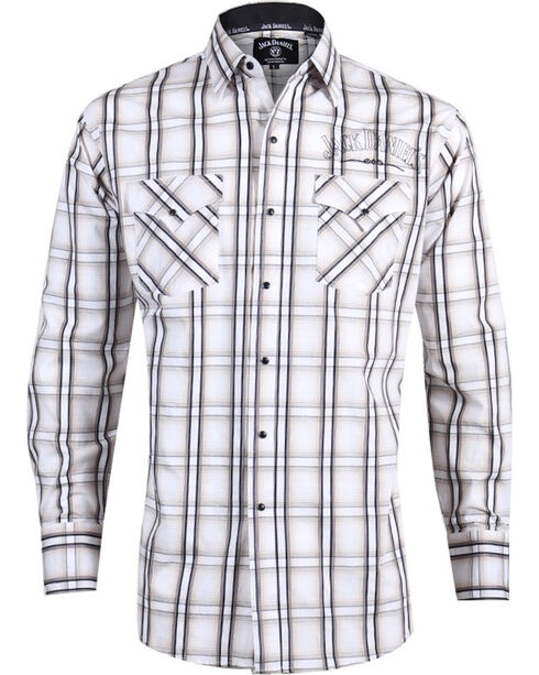 Jack Daniels by Ely Cattleman Men's Plaid Western Shirt , Tan, hi-res