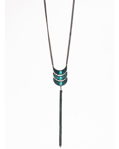 Shyanne Women's Odessa Triple Bead Tassel Necklace, Turquoise, hi-res