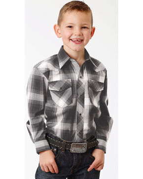 Roper Boys' Black Long Sleeve Western Shirt , Black, hi-res