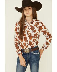 Roper Girls' Cowhide Print Long Sleeve Snap Western Shirt , Brown, hi-res