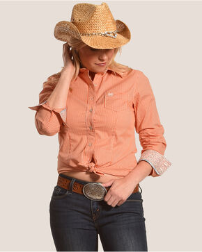 Cinch Women's Orange Mini Checkered Western Shirt , Orange, hi-res