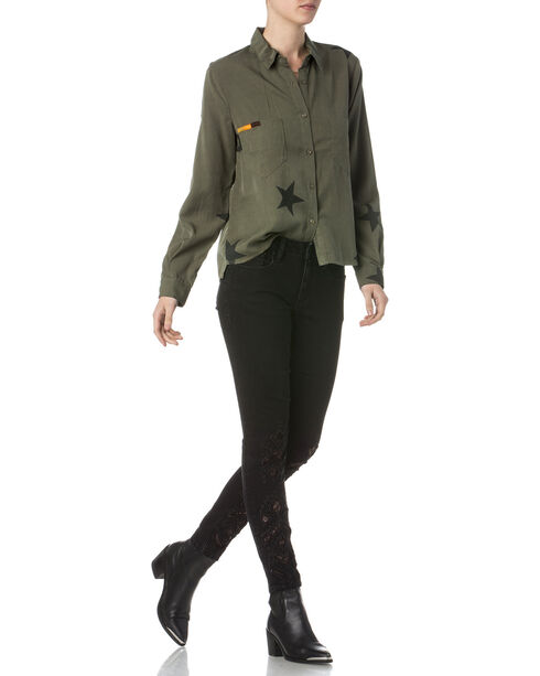 Miss Me Women's Make You Famous Button Up Shirt, Green, hi-res