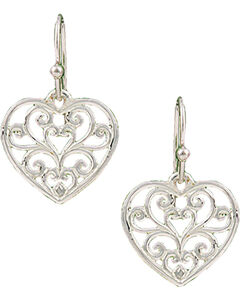 Montana Silversmiths Petite Heart's Flame Lattice Earrings, Silver, hi-res