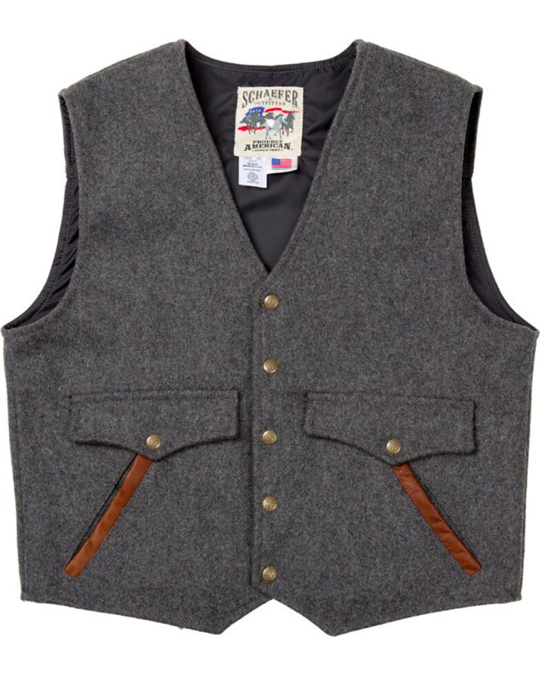 Schaefer Outfitter Men's Charcoal Stockman Melton Wool Vest, Charcoal, hi-res