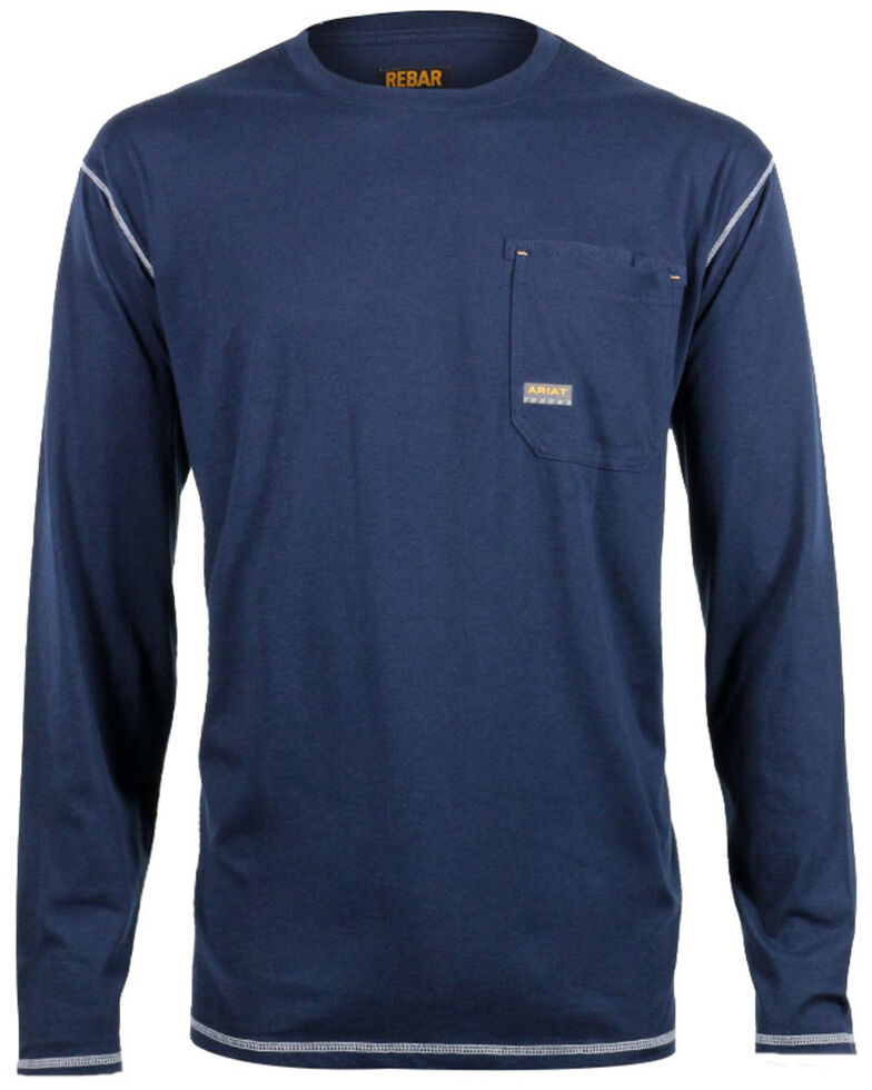 Ariat Men's Rebar Crew Long Sleeve Work Shirt, Navy, hi-res