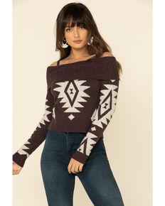 Shyanne Women's Aztec Fringe Off Shoulder Sweater , Grape, hi-res