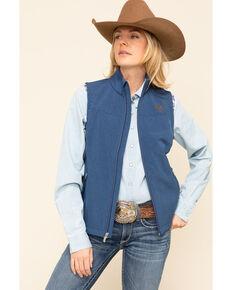 Ariat Women's Marine Blue Heather New Team Softshell Vest, Blue, hi-res