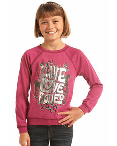 Rock & Roll Cowgirl Girls' Live Love Rodeo Long Sleeve Shirt, Pink, hi-res