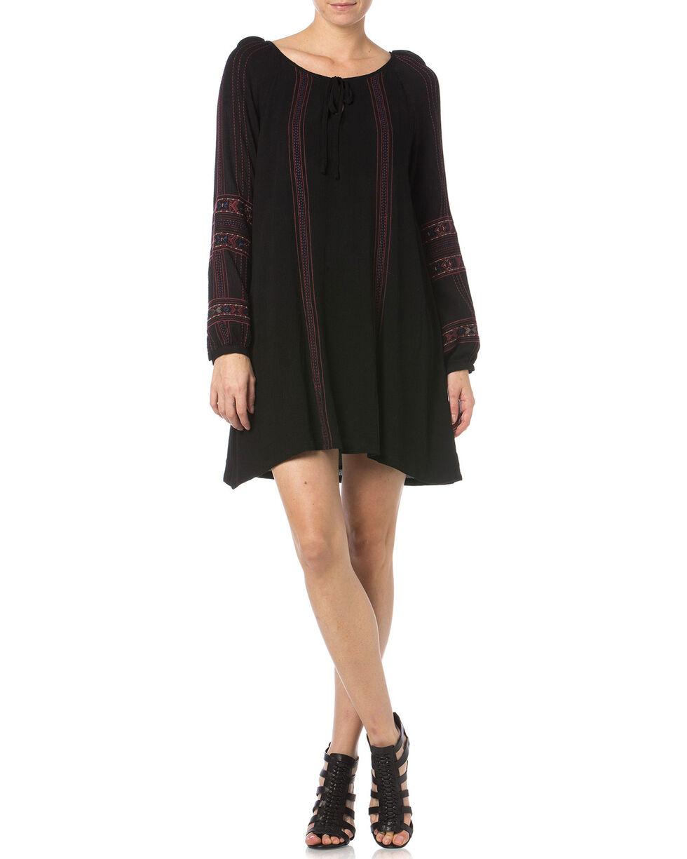 Miss Me Black Embroidered Peasant Dress, Black, hi-res