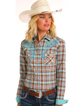 Rough Stock by Panhandle Women's Tribal Plaid Long Sleeve Western Snap Shirt, Brown, hi-res
