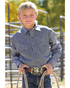 Cinch Boys' Navy Small Print Western Shirt , Navy, hi-res