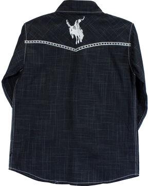 Cowboy Hardware Boys' Bucking Horse Burlap Print Long Sleeve Shirt, Black, hi-res