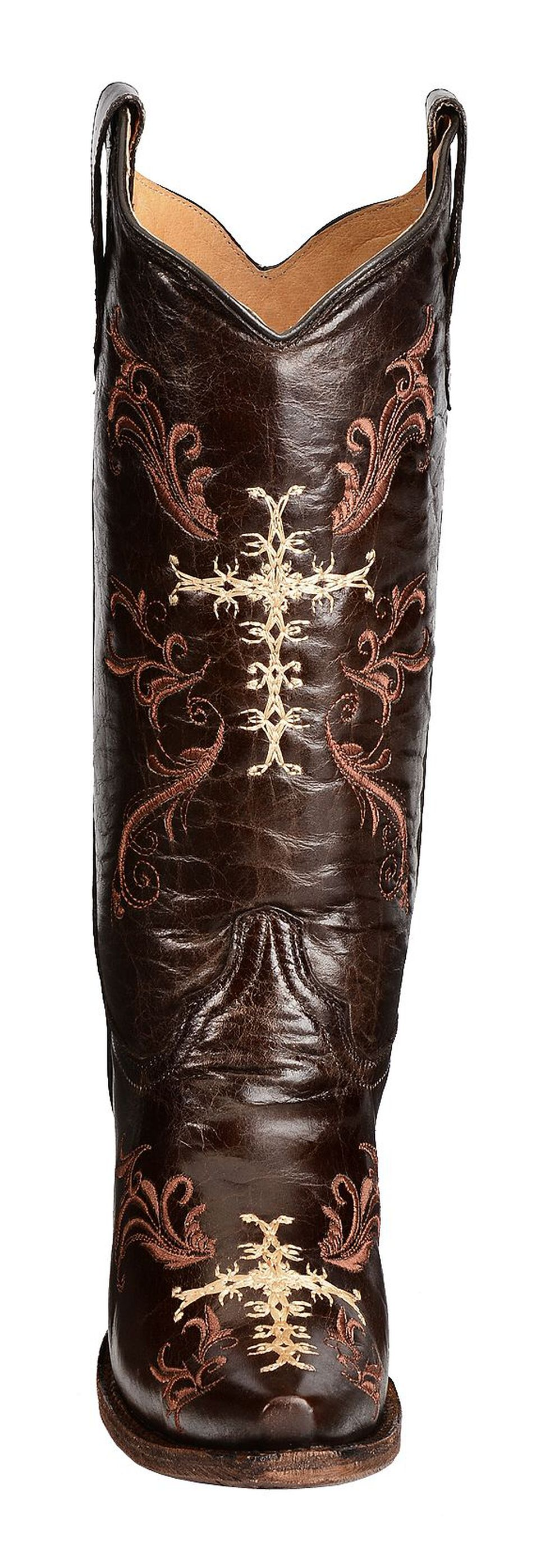 Circle G Chocolate Cross Embroidered Cowgirl Boots - Snip Toe, Chocolate, hi-res
