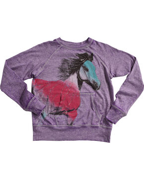 Rock & Roll Cowgirl Girls' Sparkle Horse Popover Top, Grape, hi-res