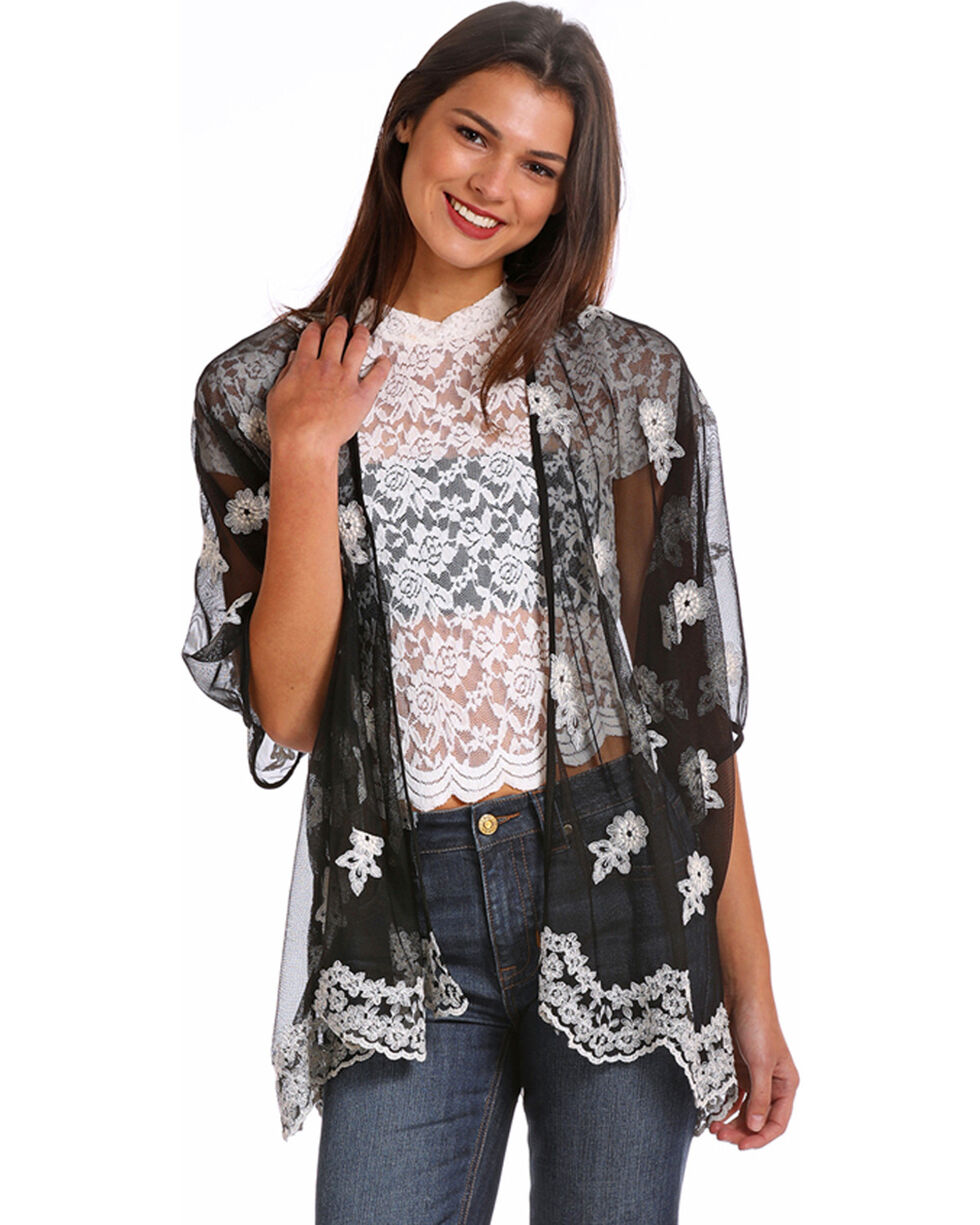 Panhandle Women's Floral Embroidered Mesh Kimono, Black, hi-res